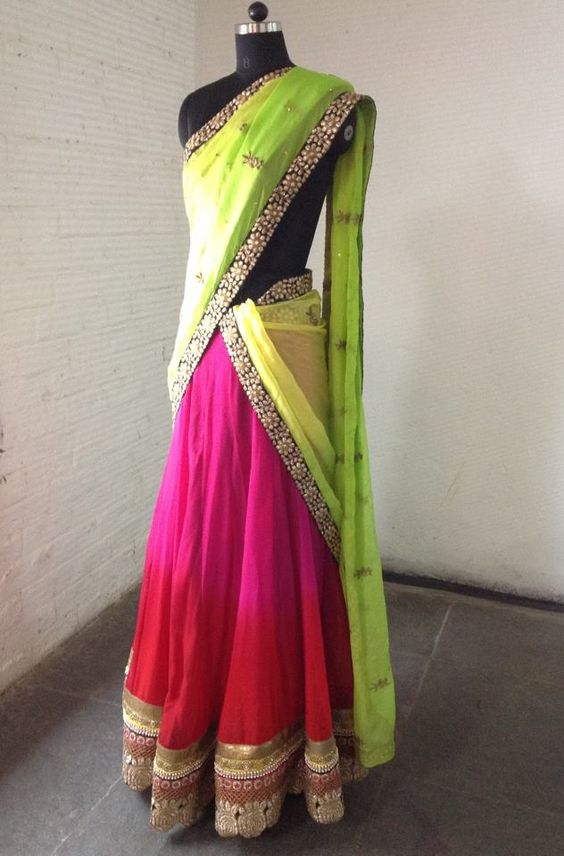 half saree wearing styles